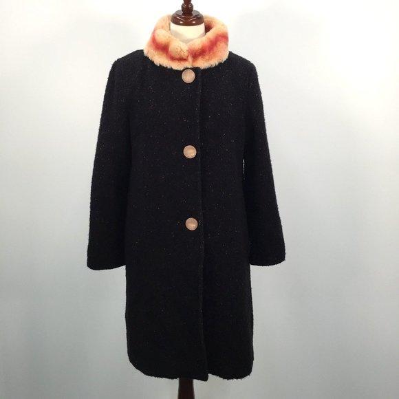 Cole Haan Collection Wool Coat Rabbit Hair Collar